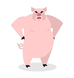 Angry pig Aggressive wild boar big boar grumpy vector image
