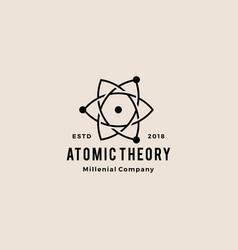 Atom logo hipster vintage icon vector