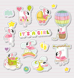 Baby girl stickers for shower party vector