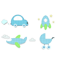 Baby plaid blue stickers of car rocket stroller vector