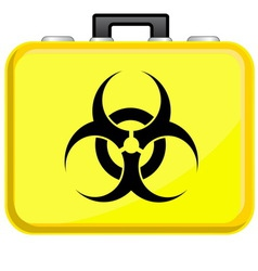 Bag with biohazard symbol vector