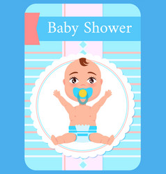 Bashower greeting card kid with pacifier sits vector