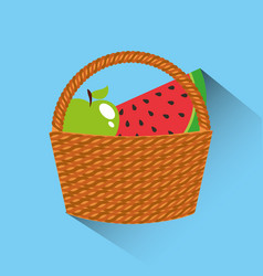 Basket with fruits icon vector