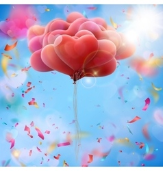 Bunch of heart shaped balloons in blue sky EPS 10 vector image