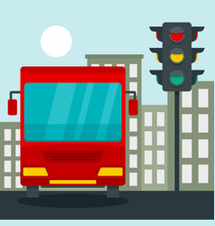 bus at stop light concept background flat style vector image