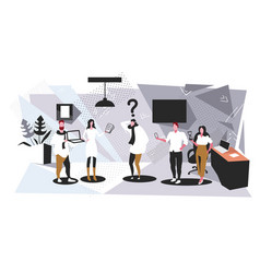 Business man surrounded colleagues with gadgets vector