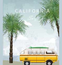 California summer travel card with camping car vector