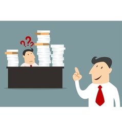 Cartoon businessman with employee in flat style vector