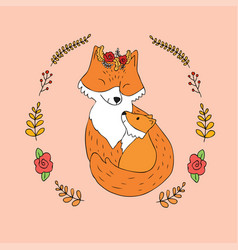 cartoon cute mother and baby red fox vector image