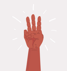 cartoon hand showing three fingers vector image