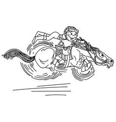 Cartoon horse racing outline vector