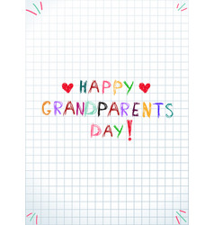 children colorful hand drawing inscription happy vector image