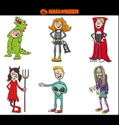 Children in halloween costumes set cartoon vector