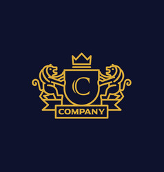 Coat arms letter c company vector