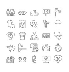collection soccer related line icons vector image