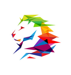 Colorful lion head logo vector