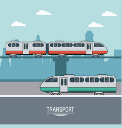 Colorful poster of transport with landscape of vector