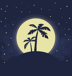 Dark palms silhouettes vector