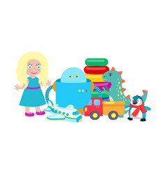 doll and robot set of toys vector image