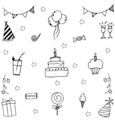 Doodle wedding element party vector