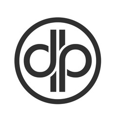 Dp initials custom unlimited circular symbol logo vector