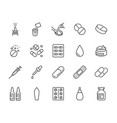drug pharmacy medical line icons vector image