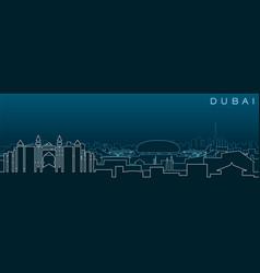 dubai multiple lines skyline and landmarks vector image