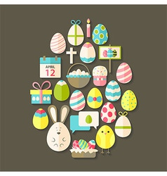 Easter flat icons set egg shaped with shadow over vector