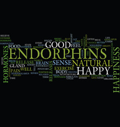 endorphins the happy hormone text background word vector image