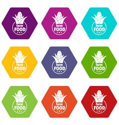 farm food icons set 9 vector image