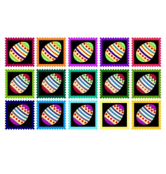 Fifteen stamps with eggs vector