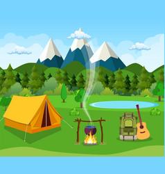 flat camping vector image