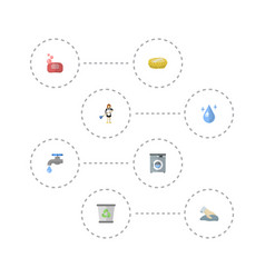 flat icons laundromat faucet sponge and other vector image