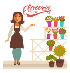Flower shop banner with woman florist and fresh vector