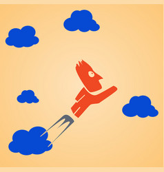 flying man clouds vector image