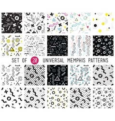 geometric memphis seamless patterns set vector image