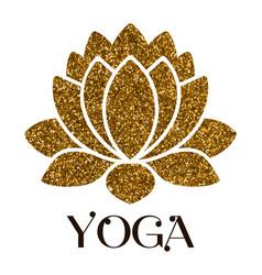 golden glitter lotus flower isolated on white vector image