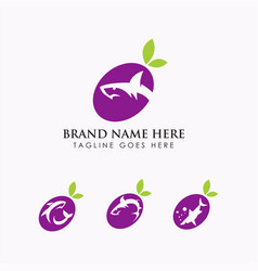 Grape shark wine logo vector