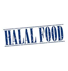 Halal food blue grunge vintage stamp isolated on vector