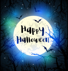 halloween card with full moon and tree vector image