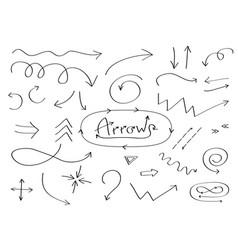 handdrawn doodle arrows icon set hand drawn black vector image