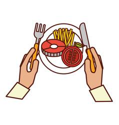 Hands holding fork knife dinner vector