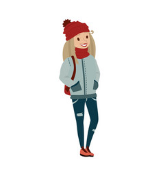 Happy female teenager wearing warm clothing vector