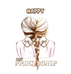 Happy friendship day card two girls united vector