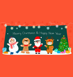 Happy kids in christmas costumes background vector