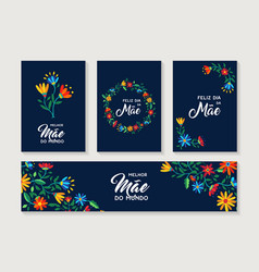 Happy mother day portuguese flower card set vector
