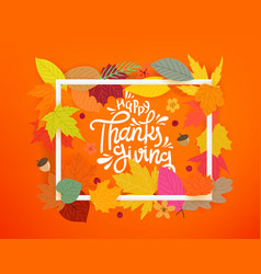 happy thanksgiving autumn composition with white vector image