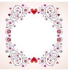 hearts and flowers frame 2 vector image