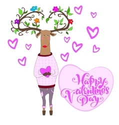Hipster deer falling in love vector