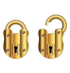 Isolated brass padlock vector